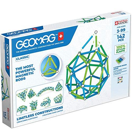 Geomag Color, Juego de Bloques de Construcción Magnéticos para Niños, Juguete Magnético, Colección Verde de Plástico 100% Reciclado, 142 piezas (274)