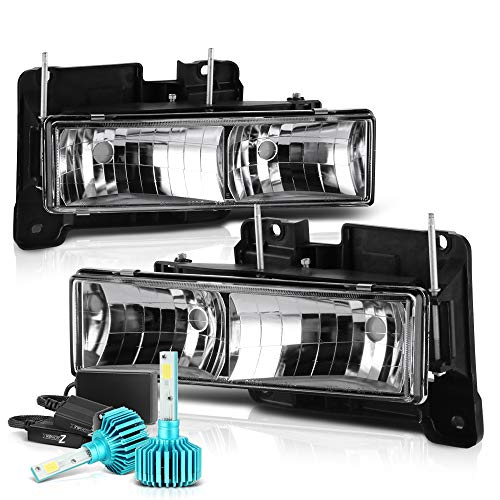 [Built-In Color-Changing RGB LED Low Beam] VIPMOTOZ Glass Lens Headlight Assembly For 1988-1999 Chevy & GMC C/K Suburban Blazer 1500 2500 3500 - Metallic Chrome Housing, Driver and Passenger Side