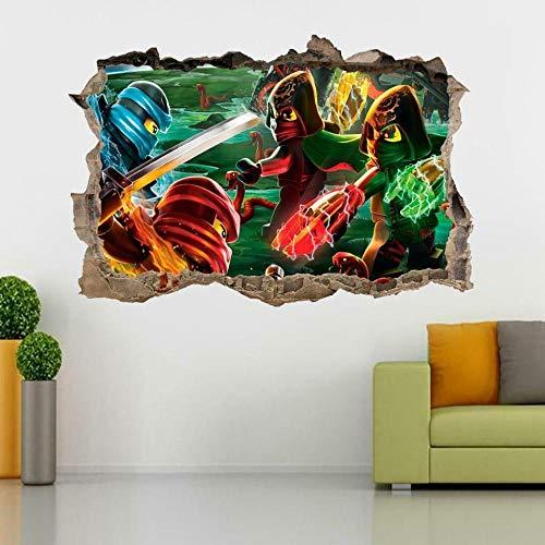 Wall Sticker Ninjago 3D Smashed Wall Sticker Decal Home Decor Art Mural Kids60*90 cm