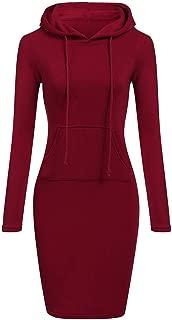 Pullover Pocket Knee Length Slim Hoodie Dresses Casual Sweatshirt Dress Women