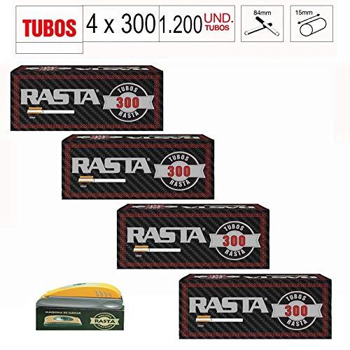 Rasta 4 X Caja 300 tubos para cigarrillos vacíos 1200 tubos + maquina rellenadora