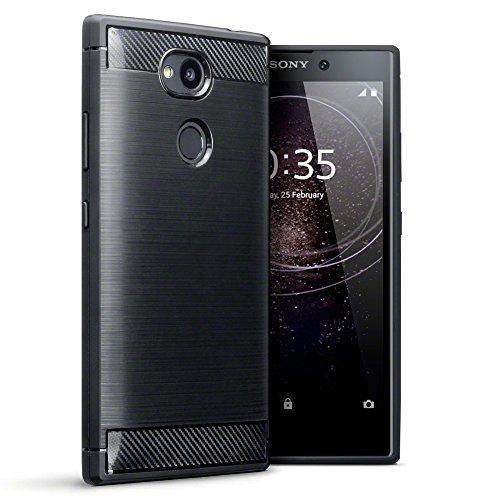 TERRAPIN, Kompatibel mit Sony Xperia L2 Hülle, TPU Schutzhülle Tasche Hülle Cover mit Karbonfaser und Ausgebürstet Dessin - Schwarz