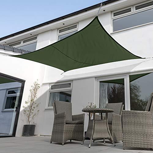 Kookaburra Waterproof Green Sun Shade Sail Garden Patio Gazebo Awning Canopy 98% UV Block with Free Rope (13ft 1' x 9ft 10' Rectangle)