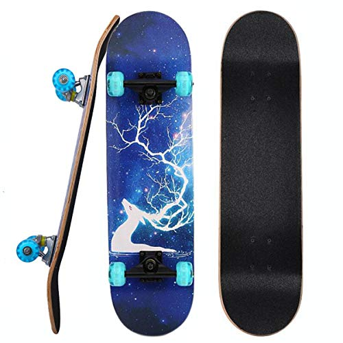 "PowerRider Skateboards 31""x8"" Standard Skateboards with Flashing Wheels Double Kick Concave Deck Maple Skate Board for Teens Adults Beginners Girls Boys Kids (Dream Elk)"