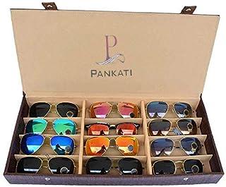 PANKATI Sunglasses Case,12 Pcs Compartment(Brown)
