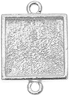 Nunn Design Bright Silver Plated Pewter Collage Bezel Square 2-Loop Link 15mm