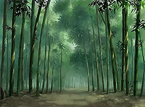 Papel pintado verde de bambú HD pintado a mano Pared Pintado Papel tapiz 3D Decoración dormitorio Fotomural de estar sala sofá mural-430cm×300cm