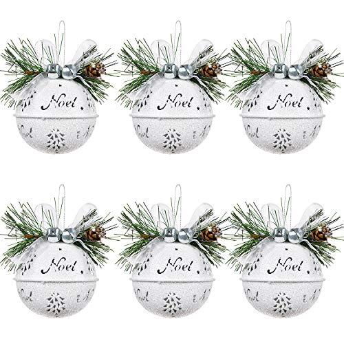 Artifilca 6 Pcs Big Christmas Jingle Bells, 3.4 Inch White Glitter Christmas Metal Sleigh Bells Rustic Craft Bells for Christmas Tree Wreath Garland Ornaments Holiday DIY Decorations
