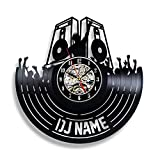 Handmade Solutions DJ Customized Vinyl Record Wall Clock - Dj Music Mix Gifts Decor for Men Party Favors
