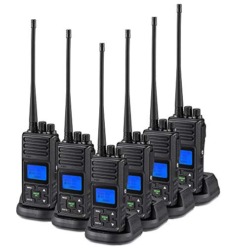 SAMCOM 5 Watts Two Way Radio Long Range Handheld UHF Business Ham Radio for Adult Programmable Walkie Talkie with Rechargeable 1500mAh Battery LCD Display Charging Docks Earpieces (6 Packs)