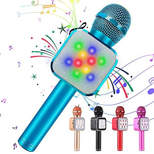 KIDWILL Micrófono de Karaoke Inalámbrico con Bluetooth para Niños y Adultos 5 en 1 Micrófono de Karaoke de Mano con Luces LED, Micrófono Portátil para Fiesta de Cumpleaños KTV Navidad (Azul)