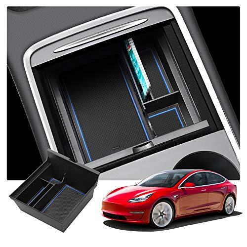RUIYA Tesla model 3 2021+ Armlehne Aufbewahrungsbox Mittelkonsole Organizer mit Antirutschmatten Angepasst Auto Zubehör 2021 Update (Blau)