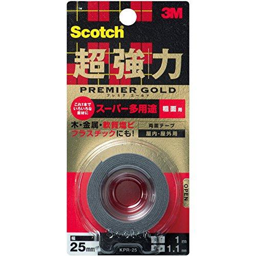 スコッチ 超強力両面テープ プレミアゴールド スーパー多用途 粗面用 25mm×1m KPR-25