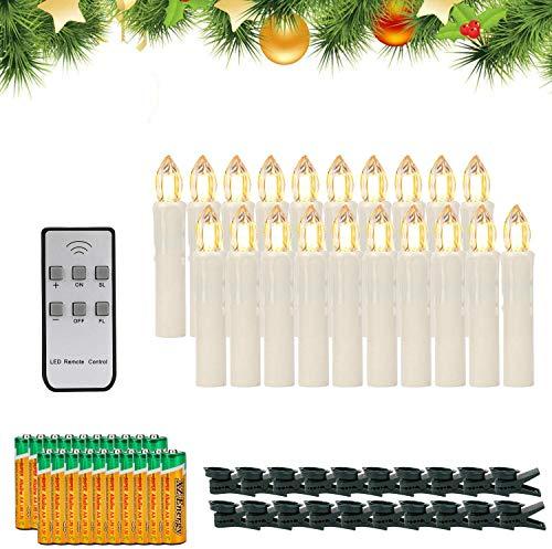 EXTSUD 20 Pezzi Candele LED per Albero Natale Candele Sottili Realistiche Dimmerabili Senza Fiamma...