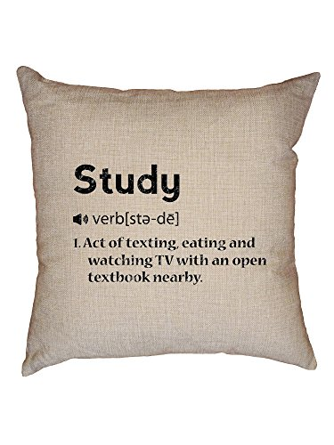 Hollywood Thread Study Dictionary Definition - Funny Student Decorative Linen Throw Cushion Pillow Case with Insert
