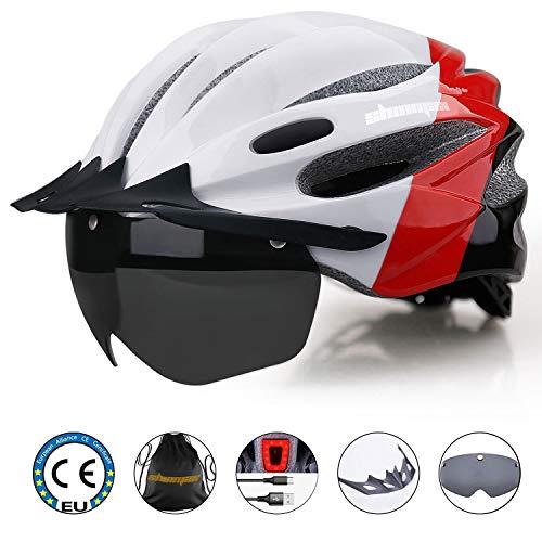 Shinmax Fahrradhelm mit LED-Licht Radhelm mit wiederaufladbarem USB LED Rücklicht Helm abnehmbarem magnetischem Visier Abnehmbarer Sonnenschutzkappe Fahrradhelm Verstellbare Größe Erwachsene Radhelm.