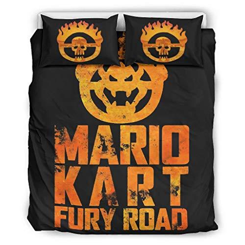 Dogedou leichte Mikrofaser-Bettwäsche Mario Kart Fury Road 3-teiliges Bettwäsche-Set, Polyester, weiß, 66x90 inch
