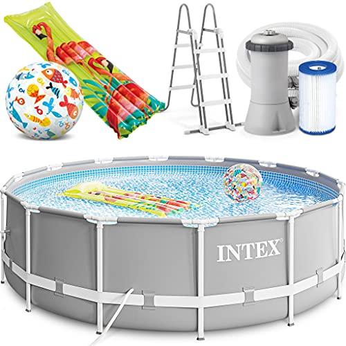 INTEX 427 x 107 cm Prism Metal Frame Swimming Pool Schwimmbecken 26720 Komplett-Set mit Extra-Zubehör wie: Strandball und Luftmatratze