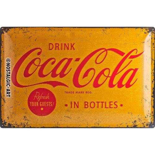 Nostalgic Art Coca Cola Yellow Logo - Placa decorativa, metal, 40 x 60 cm, color amarillo y rojo