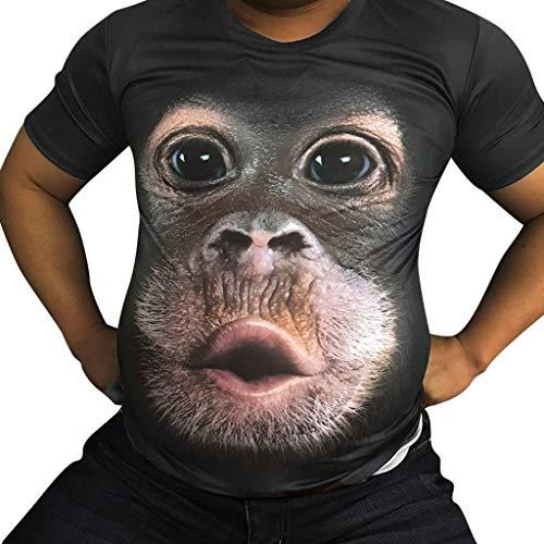 BinggongHerren 3D Affen Gedrucktes T-Shirt Männer Rundhals Große Größen Kurzarmshirt Sportsshirt Stretch Freizeit Shirts Sommershirt Classics Herrenbekleidung