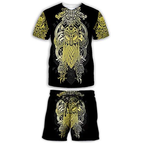 Hommes Tenues 2 Pièces Mode 3D Imprimé Nordic Viking T-Shirt Et Shorts Ensembles Mythologie Nordique Odin Symbole Board Shorts Survêtement Décontracté,A,3XL