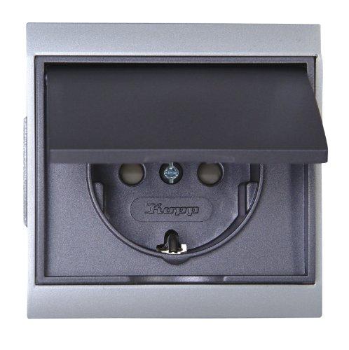 Kopp 911550081 Malta 2-fach-Schutzkontakt Steckdose Komplett-Gerät mit erhöhtem Berührungsschutz(abdeckung), silber-anthrazit