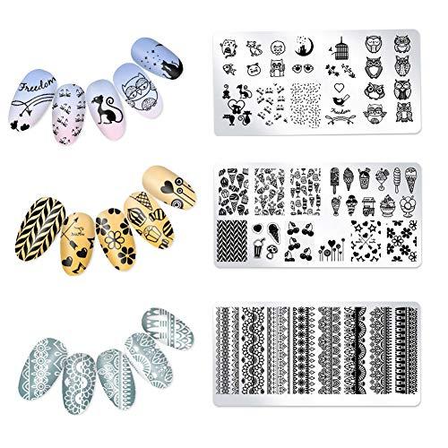 Línea de pescado Escala de Diseño de uñas de arte plantilla Estampación Estampación Ilusión rejillas 3pcs placa (OM-D01, D02-OM, OM-D03)