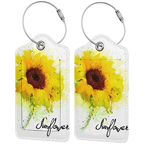 NEPower Watercolor Sunflowers Luggage Tags Travel Baggage Lables PU Leather Tags Boarding Card