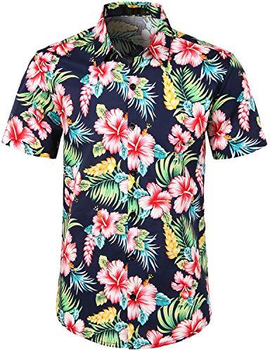 JOGAL Herren Baumwolle Button Down Kurzarm Hawaii-Hemd - Blau - 3X-Groß