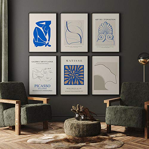 Matisse CláSico Salon De Decoracion Azul Beige Pared Arte Lienzo Pintura E Imprimir Abstracto Cuerpo Arte Cuadros Salon Interior Poster 30x40cmx6 No Cartel