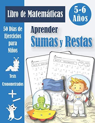 Sumas y Restas 5-6 años: Libro de 50 Problemas Práctica de Matemáticas (con respuestas) - Sumar y Restar para Niños - Cuaderno de Ejercicios - Dígitos 0-20