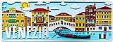Venecia–Italia–Placa decorativa de metal 12,5x 33cm)–Producto decorativo con partes de relieve