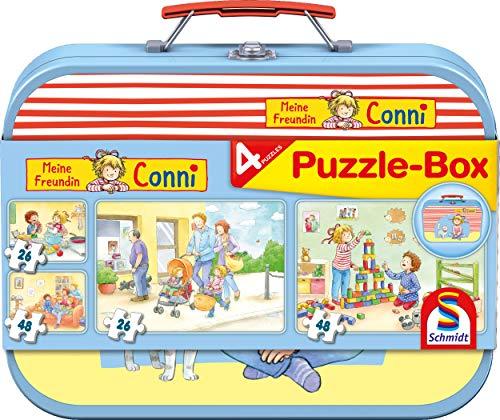 Schmidt Spiele Puzzle 56493 Meine Freundin Conni, Puzzle-Box, 2x24, 2x48 Teile Kinderpuzzle im Metallkoffer, bunt