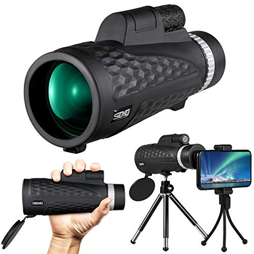 Siuyiu Monocular Telescope, 12X60 High Power Monocular Telescope for Smartphone, Night Vision Zoom Monocular with BAK4 Prism Telescope, Phone Scope for Bird Watching, Hunting, Camping, Traveling-IPX5