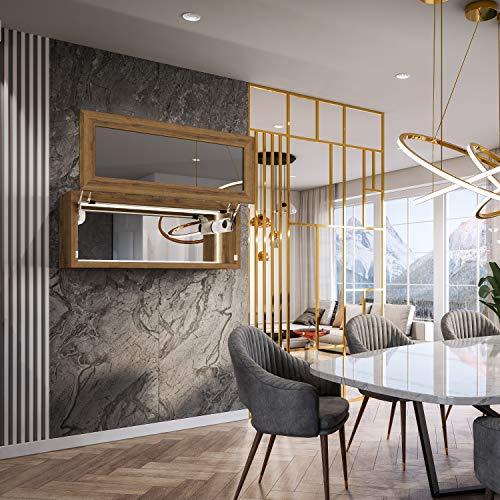 Artforma Armario con Veneciano Espejo para Sala de Estar con 1-Puerta | 110 cm x 45 cm x 36 cm | 17 Decoraciones para Elegir | Iluminado LED | Interruptor de Sensor | Altavoz Bluetooth