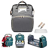 WAQIA TeeBetter Travel Bassinet Foldable Baby Bed Portable Folding Crib Diaper Bag Multifunctional Large Capacity Folding Crib Backpack Mummy Bag Changing Station with Mattress (Grey)