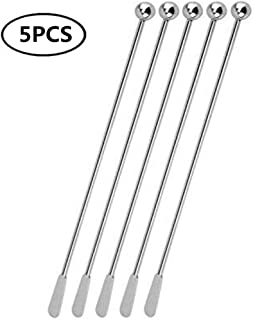 JSDOIN Stainless Steel Coffee Beverage Stirrers Stir Cocktail Drink Swizzle Stick with Small Rectangular Paddles (5Pcoffeestirrers)