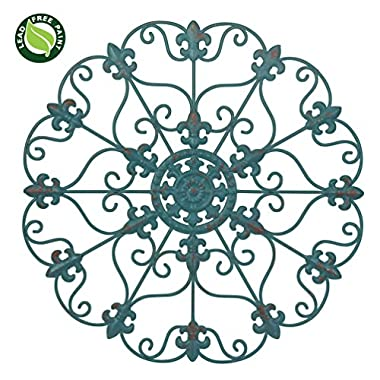 NEW! 24  Hand Made Iron Wall Medallion, Home, Room Decoration, Home Decor 100% Lead Free Paint, Teal Color