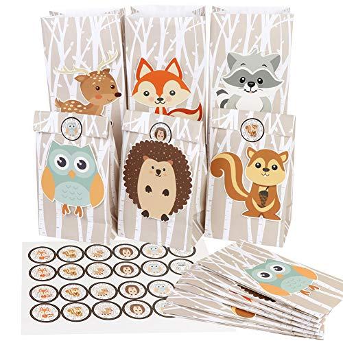 Aparty4u 24 Stück Woodland Mitbringsel Tasche, Papier Candy Geschenk Taschen für Woodland Tiere Thema Baby Shower Birthday Party Dekorationen Supplies (6 Stil, 8,6