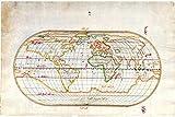 History Prints Piri Reis Oval World Map, Ottoman Empire 16th Century Fine Archival Reproduction - 24 x 36 inches