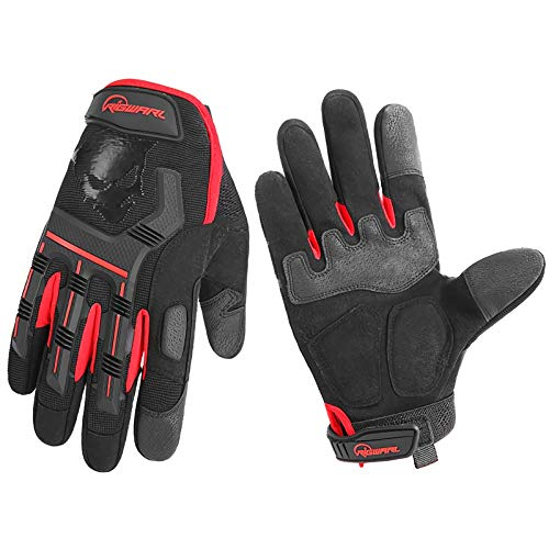 FENGTING Bmx Youth Gloves,Red Soft Shell Protection Windproof Warm Anti-slip Touch Screen Waterproof Shock, For Bicycle Skateboard Parkour Outdoor Bike Men Women (Size : Medium)