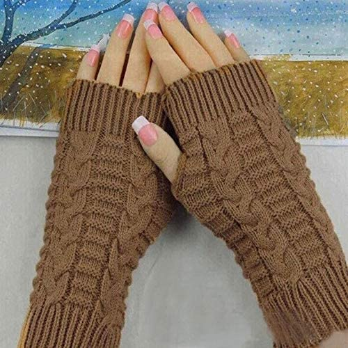 Winter Wrist Arm Hand Warmer Knitted Long Fingerless Gloves Mitten 2017 Warm Winter Female Gloves Wool Knitted - (Color: Khaki, Gloves Size: One Size)