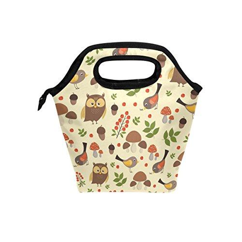 Animaux Oiseaux chouettes repas isotherme Sac fourre-tout pour femme Lunch Box Cooler avec fermeture à glissière pour adultes/enfants filles, garçons, hommes