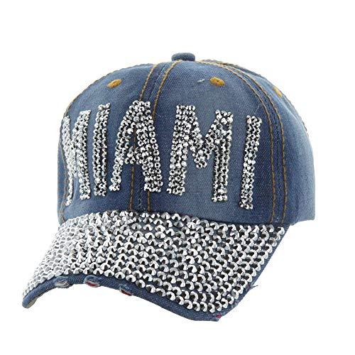 TOP HEADWEAR Gorra de béisbol de mezclilla ligera de Miami con tachuelas (Ropa)
