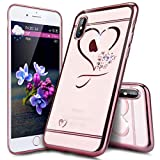 Surakey Compatible avec Coque iPhone XR Paillette Strass Brillante Motif Coeur de Cristal Glitter Transparent Souple TPU Silicone Gel Housse Étui Protection Bumper pour iPhone XR, Or Rose