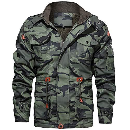 Aiserkly Camouflage Kapuzejacke Winterjacke Herren Vintage Hoodie Kapuzepullover Strickjacke Kapuzejacke Herbst Winter Übergangsjacke Outwear Grün L