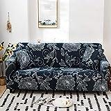 Funda Elástica de Sofá Cubre Antideslizante/Protector Ajustables de Sofá, Decorativas Fundas Flor Azul Impresa -para Sofas, con Cuerda de Fijación (4 Plazas:225-290cm)+1 Fundas de Almohada