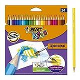 BIC Kids Aquacouleur Lápices Acuarelables Efecto Pintura - colores Surtidos, Blíster de 24 unidades