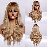 Pelucas onduladas largas para mujeres negras Peluca de pelo sintético...