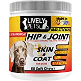 Lively Pets Hip and Joint Supplements + Skin and Coat with Glucosamine and MSM for Dogs